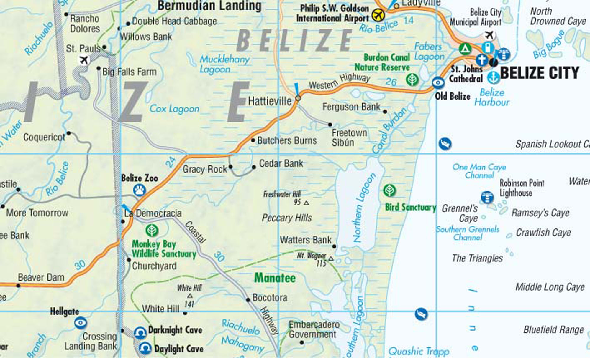detail Belize 1:500t mapa Borch