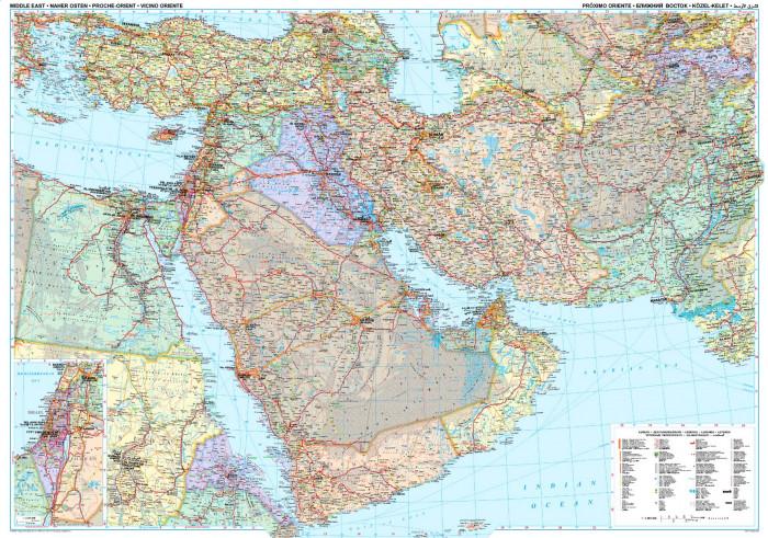 Stredni Vychod Nastenna Mapa 125x88 Cm Gizi International Travel