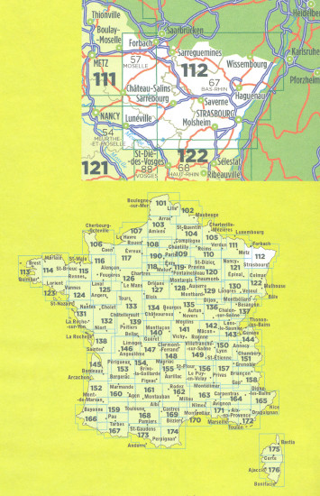 detail IGN 112 Strasbourg / Forbach 1:100t mapa IGN