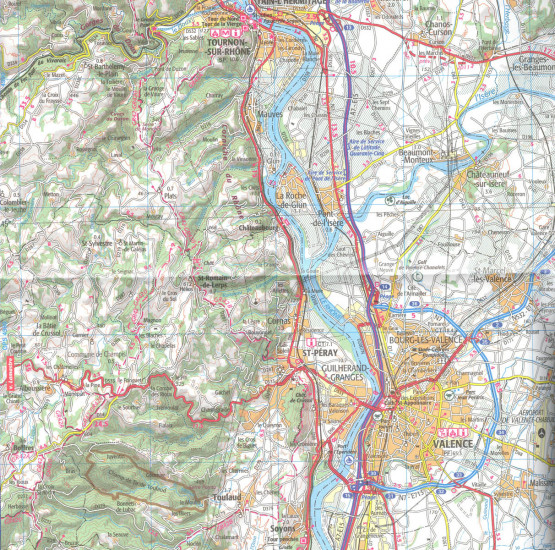 detail IGN 157 Grenoble / Montélimar 1:100t mapa IGN