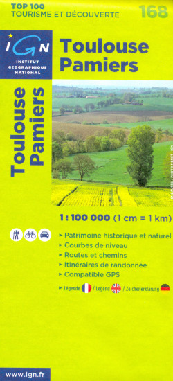 detail IGN 168 Toulouse Pamiers 1:100t mapa IGN