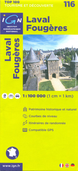 detail IGN 116 Laval Fougeres 1:100t mapa IGN