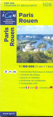 IGN 108 Paris, Rouen 1:100t mapa IGN