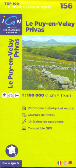 detail IGN 156 Le Puy-en-Velay 1:100t mapa IGN