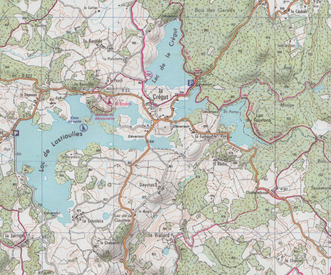 detail Cezallier, Monts du Cantal 1:25t mapa IGN