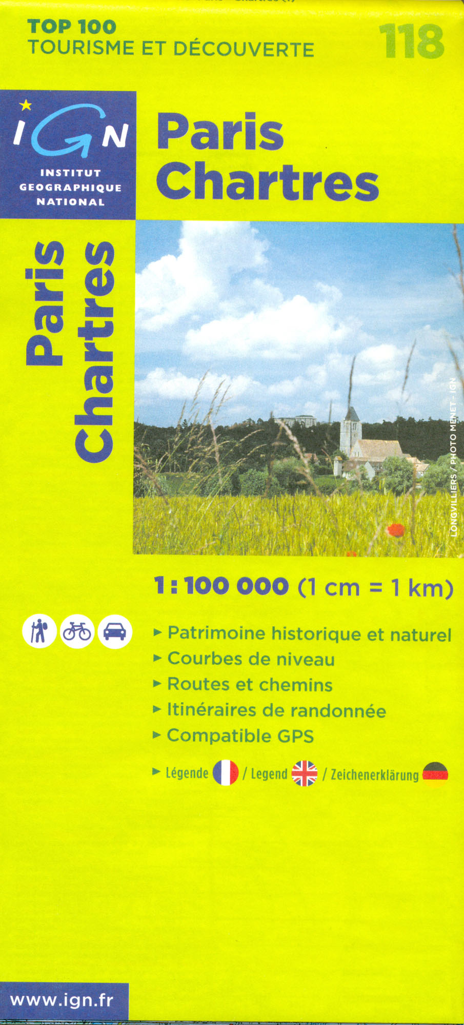 IGN 118 Paris, Chartres 1:100t mapa IGN