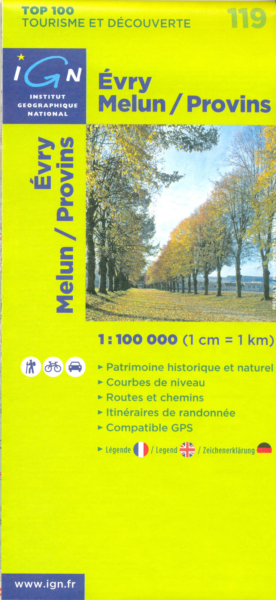 IGN 119 Evry, Melun, Provins 1:100t mapa IGN