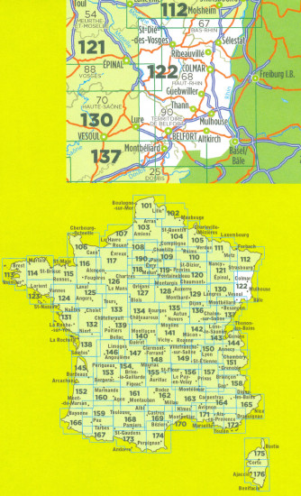 detail IGN 122 Colmar, Mulhouse, Bale 1:100t mapa IGN
