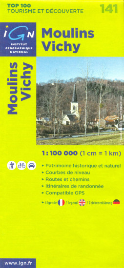detail IGN 141 Moulins, Vichy 1:100t mapa IGN