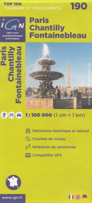 IGN 190 Paris, Chantily, Fontainebleau 1:100t mapa IGN
