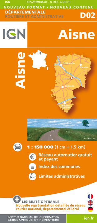 detail Aisne departement 1:150.000 mapa IGN