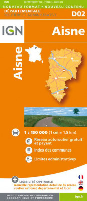 Aisne departement 1:150.000 mapa IGN