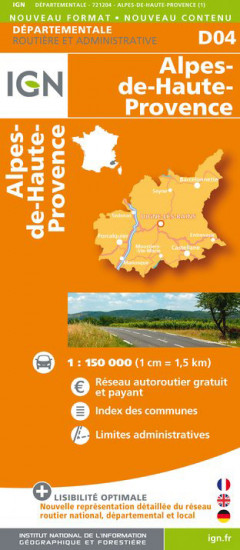detail Alpes-de-Haute-Provence departement 1:150.000 mapa IGN