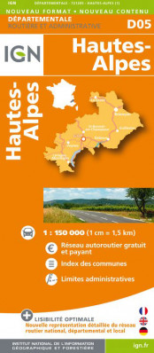 Hautes-Alpes departement 1:150.000 mapa IGN