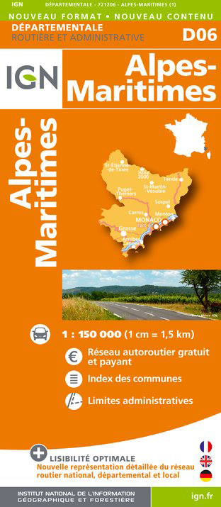 náhled Alpes-Maritimes departement 1:150.000 mapa IGN