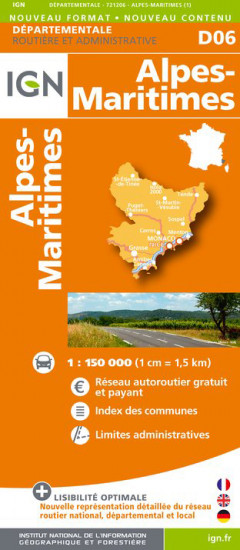 detail Alpes-Maritimes departement 1:150.000 mapa IGN