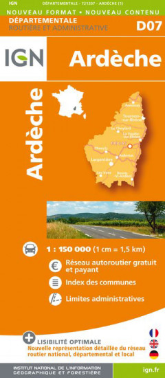detail Ardeche departement 1:150.000 mapa IGN