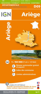 Ariege departement 1:150.000 mapa IGN