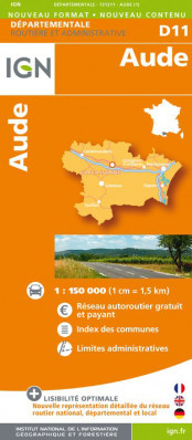 Aude departement 1:150.000 mapa IGN