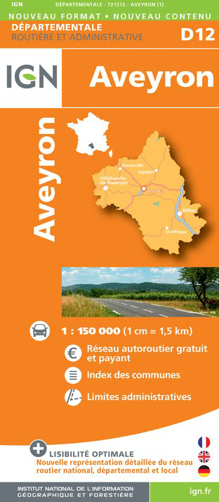 Aveyron departement 1:150.000 mapa IGN