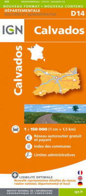 Calvados departement 1:150.000 mapa IGN