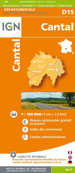 Cantal departement 1:150.000 mapa IGN