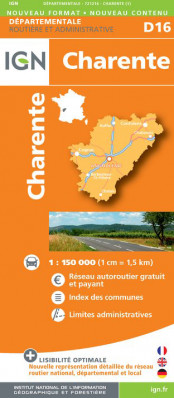 Charente departement 1:150.000 mapa IGN