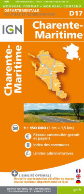 Charente-Maritime departement 1:150.000 mapa IGN