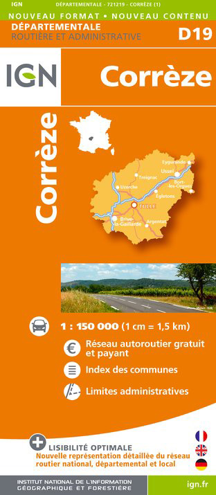 Correze departement 1:150.000 mapa IGN