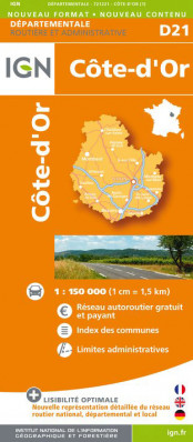 Côte-d´Or departement 1:150.000 mapa IGN