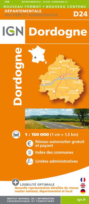 Dordogne departement 1:150.000 mapa IGN