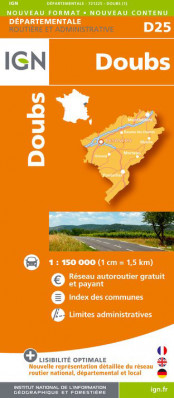 Doubs departement 1:150.000 mapa IGN