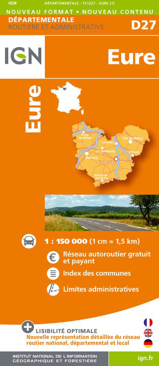 Eure departement 1:150.000 mapa IGN