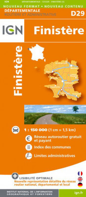 Finistere departement 1:150.000 mapa IGN