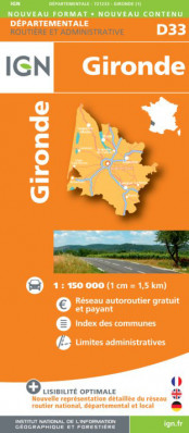 Gironde departement 1:150.000 mapa IGN