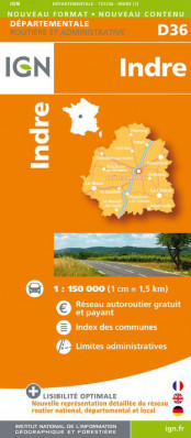 Indre departement 1:150.000 mapa IGN