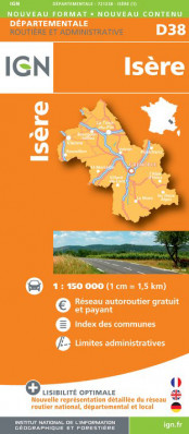 Isere departement 1:150.000 mapa IGN