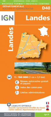 Landes departement 1:150.000 mapa IGN