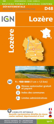Lozere departement 1:150.000 mapa IGN