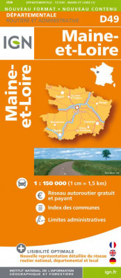 Maine-et-Loire departement 1:150.000 mapa IGN