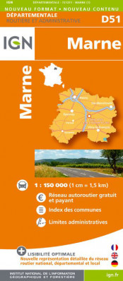 Marne departement 1:150.000 mapa IGN