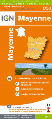 Mayenne departement 1:150.000 mapa IGN