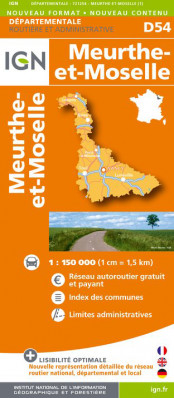 Meurthe-et-Moselle departement 1:150.000 mapa IGN