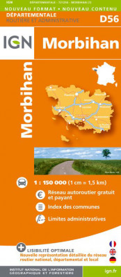 Morbihan departement 1:150.000 mapa IGN