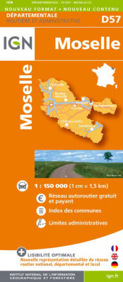 Moselle departement 1:150.000 mapa IGN