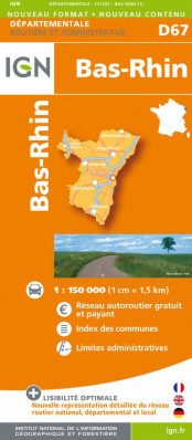 Bas-Rhin departement 1:150.000 mapa IGN