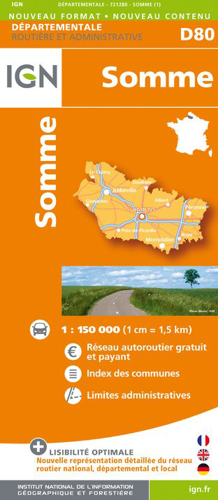 Somme departement 1:150.000 mapa IGN