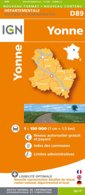 Yonne departement 1:150.000 mapa IGN