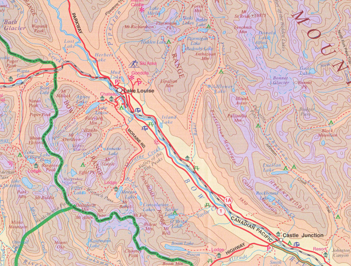 detail Banff National Park 1:300t mapa ITM