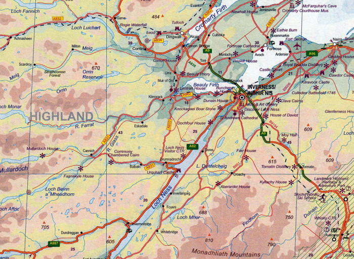detail Edinburgh 1:10.000 / Scotland 1:550.000 turist. ITM
